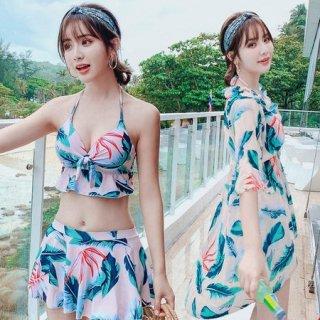 韓国水着❤とってもリゾート可愛いワンピースビキニ3点セット