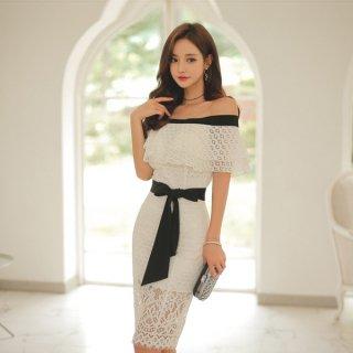 韓国ワンピース❤韓国ドレス 大人可愛いオフショル清楚セクシーなレースのタイトワンピ