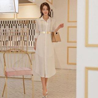 韓国ワンピース❤とっても上品で清楚綺麗な大人お嬢様のシャツワンピ