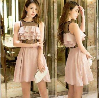 韓国ワンピース❤韓国ドレス ドットレースにフリルが可愛いミニドレス