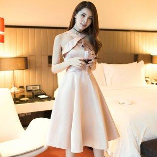 韓国ワンピース❤韓国ドレス バックオープンホルターネックなセクシー可愛いミニドレス
