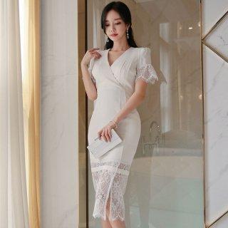 韓国ワンピース❤韓国ドレス スカートのシースルーレースがセクシーホワイトワンピ