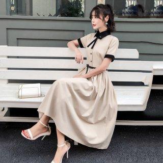韓国ワンピース❤ボウタイリボンのガーリーなお嬢様ワンピ