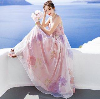 韓国ワンピース❤韓国ドレス 花柄可愛いキャミソールのお嬢様お姫様ワンピ