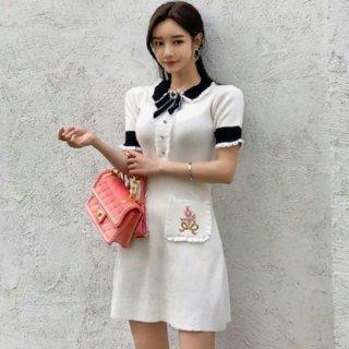 韓国ワンピース❤リボン可愛い清楚お嬢様のフェミニンワンピ
