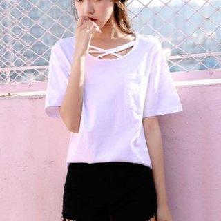 韓国トップス❤首元デザイン可愛いシンプルお洒落なTシャツ