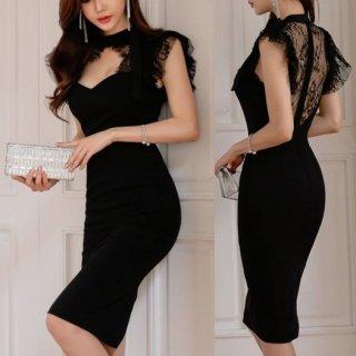 韓国ワンピース❤韓国ドレス 首元胸元セクシー可愛いバックオープン花柄レースのブラックタイトドレス