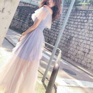 韓国ワンピース❤韓国ドレス 幻想的なフリルシースルーのドレスワンピ