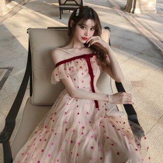韓国ワンピース❤韓国ドレス 星柄ドットのオフショルフェミニンガーリーワンピ