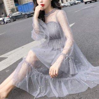 韓国ワンピース❤プチプラドレス 小さなスパンコールのふんわり可愛いフェアリーフェミニンガーリードレス