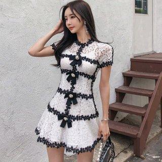 韓国ワンピース❤パールリボンと花柄レースのとっても可愛いミニドレス