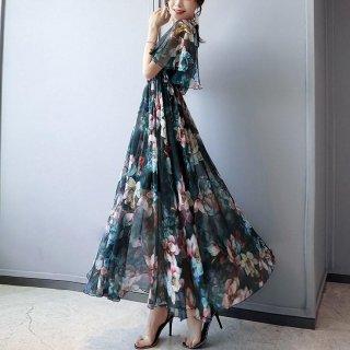 韓国ワンピース❤エレガント花柄可愛いバックコンシャスのシースルー大人ワンピ