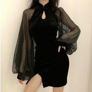 韓国ワンピース❤韓国パーティードレス バルーンスリーブとっても可愛いセクシータイトミニワンピ