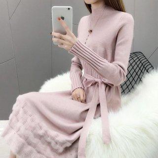 韓国ニットワンピース❤スカート裾がちょっぴりフェミニン可愛いニットワンピ
