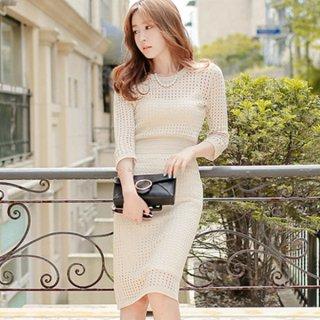 韓国ワンピース❤韓国ドレス メッシュホワイト感がとっても清楚可愛いタイトワンピ