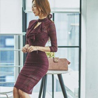 韓国ワンピース❤韓国パーティードレス 大人エレガントにリボンが可愛いタイトドレス