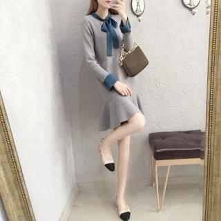 韓国ワンピース❤リボンがお嬢様可愛いシンプルニットガーリーワンピ