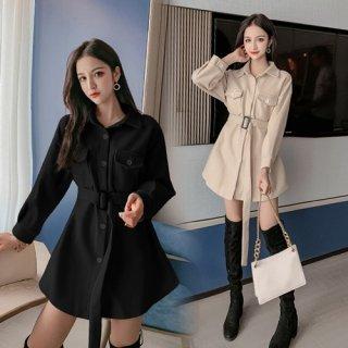 韓国ワンピース❤出来る女を演出できるトレンチ風の可愛いワンピース