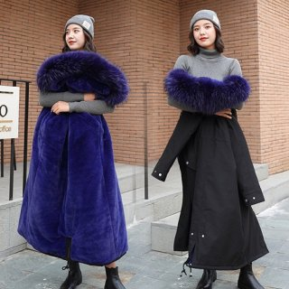 韓国アウター❤裏ボア付きなので暖かい ボリュームファー付きダウンコート