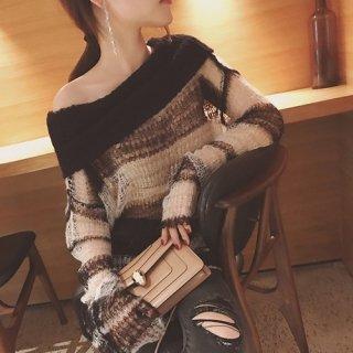 韓国トップス❤ざっくり編みでセクシーに 可愛いシースルーニット