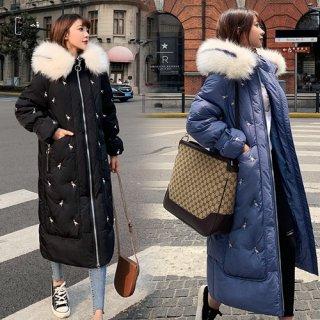 韓国アウター❤フラミンゴ柄が個性的な可愛いダウンコート