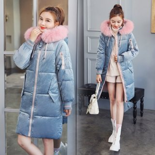 韓国アウター❤バイカラーの配色が可愛いボリュームファーダウンコート