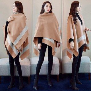 韓国アウター❤羽織るだけでサマになる可愛いウールポンチョ