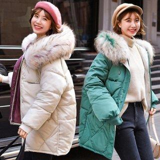 韓国アウター❤ふわふわのファーが可愛いシンプルダウンジャケット