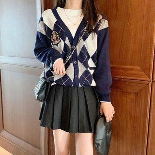 韓国セットアップ❤秋冬おススメのアーガイル柄 カーディガンとミニスカートの可愛いレトロツーピース