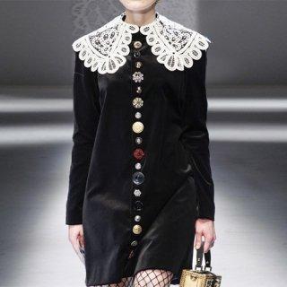 韓国ワンピース❤個性的なボタンとレース襟が可愛いベルベットのワンピース