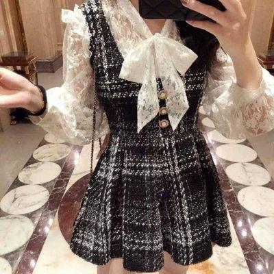 韓国セットアップ❤上品な装いのレースブラウスとチェック柄のツーピース