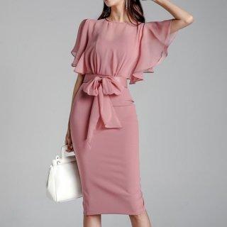 韓国ワンピース❤韓国ドレス ウエストリボンでメリハリを 美ラインを作る可愛いワンピースドレス