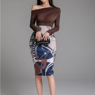 韓国セットアップ❤大人っぽい総柄スカートとワンショルダーの可愛いツーピース