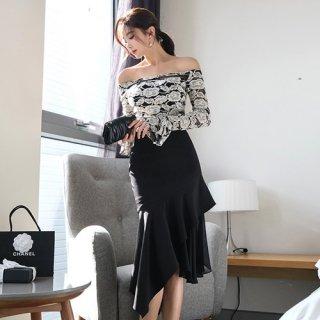 韓国セットアップ❤韓国パーティードレス 花柄の刺繍が可愛いオフショルダーデザインのツーピース