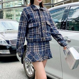韓国セットアップ❤ツイード素材のジャケットとミニスカートの可愛いツーピース