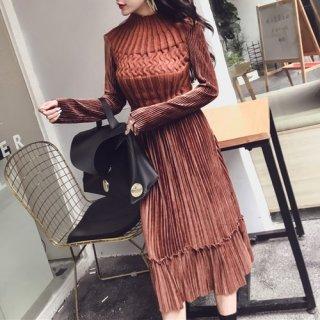 韓国ワンピース❤ふんわり広がるプリーツスカートが可愛いニット切替ワンピース 962676