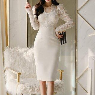 韓国ワンピース❤韓国パーティードレス ホワイトカラー×レースの可愛く清楚なパーティードレス 962686