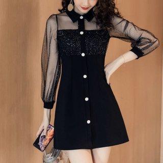 韓国ワンピース❤透け感ある上品な雰囲気に ラメをちりばめた襟付きミニ丈ワンピース 962689