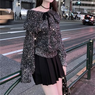 韓国トップス❤アレンジ自由!大きめの襟が可愛いキラキラニット 962715