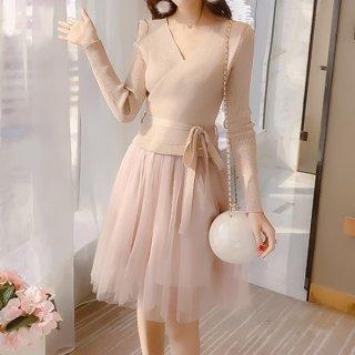 韓国ワンピース❤春先におススメ!ニットとチュールスカートの可愛いコンビワンピース 962739