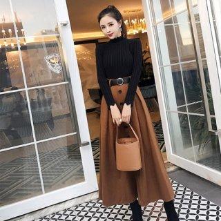 韓国セットアップ❤落ち着いたレトロな雰囲気 ニットとトレンチスカートの可愛いツーピース 962743