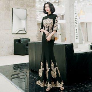 韓国ワンピース❤韓国パーティードレス ゴールドの刺繍がエレガントなロング丈ドレス 962750