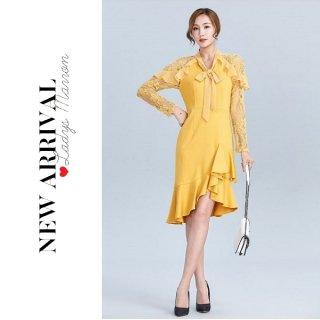 韓国ワンピース❤韓国ドレス フリルとリボンで可愛らしさアップ♪オシャレなフレアワンピース 962768