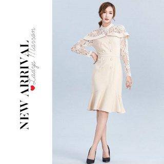 韓国ワンピース❤韓国ドレス パールボタンと花柄レースが大人可愛いシースルーワンピース 962769