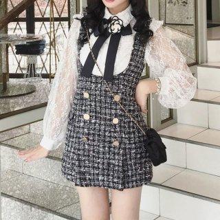 韓国セットアップ❤ツイード×レースのコンビが可愛い 春におススメのツーピース 962837