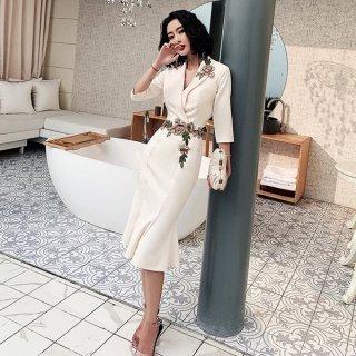 韓国ワンピース❤韓国パーティードレス さりげない花の刺繍が可愛いカシュクールワンピース 962868