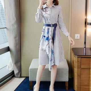 韓国ワンピース❤ストライプ×エルメス調が可愛いドッキングシャツワンピ 962906