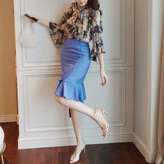 韓国セットアップ❤春夏におススメ!花柄オフショルブラウスとマーメードスカートの可愛いツーピース 962915