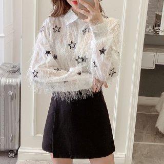 韓国トップス❤星をちりばめた可愛いフリンジ風ブラウス 962923