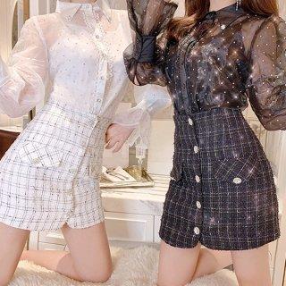 韓国スカート❤ビジューボタン×ツイード素材が上品な可愛いハイウエストスカート 962946